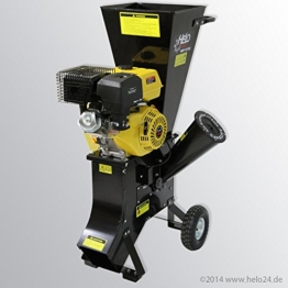 HELO Benzin Schredder HBS 13/102 mit starkem 13 PS 4-Takt OHV Motor, 22 Messer inklusive, Häckselleistung: max. 26 m³/ h, hexelt bis zu 76 mm dicke Äste -